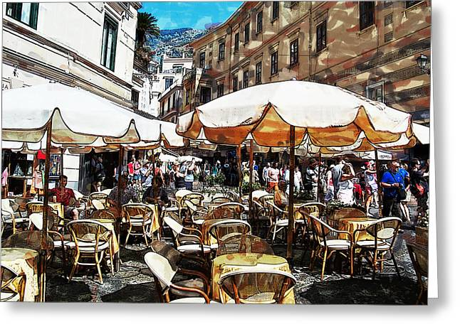 Al Fresco Greeting Cards - Lunch in Dubrovnik Greeting Card by Elaine Frink