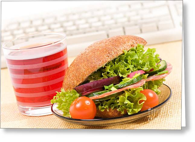 Lunch Of Sandwich With Vegetables And Juice  Greeting Card