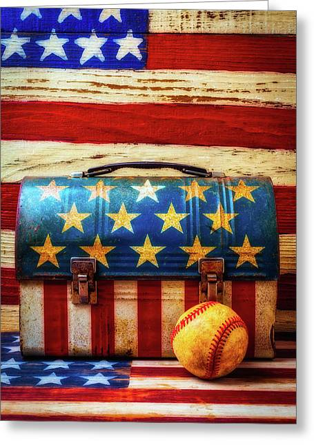 Lunch Pail And Baseball Greeting Card by Garry Gay