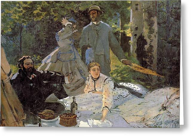 Luncheon On The Grass, Centre Panel Greeting Card by Claude Monet