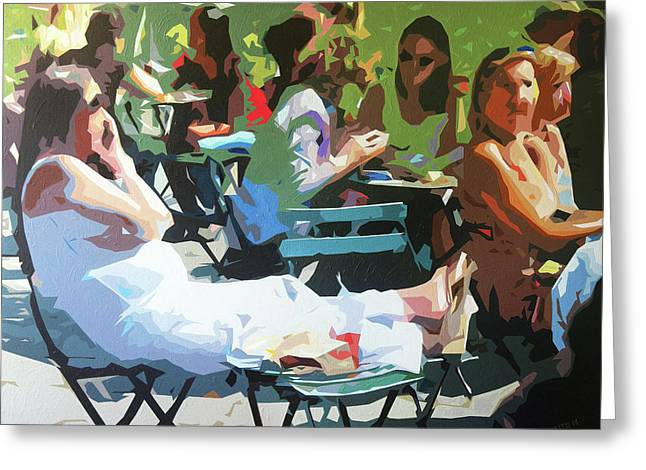 Lunchtime In Bryant Park Greeting Card by Sabino Caputo