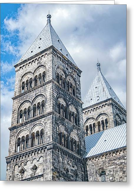 Greeting Card featuring the photograph Lund Cathedral In Sweden by Antony McAulay