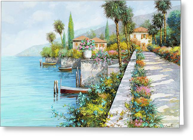 Boat Greeting Cards - Lungolago Greeting Card by Guido Borelli