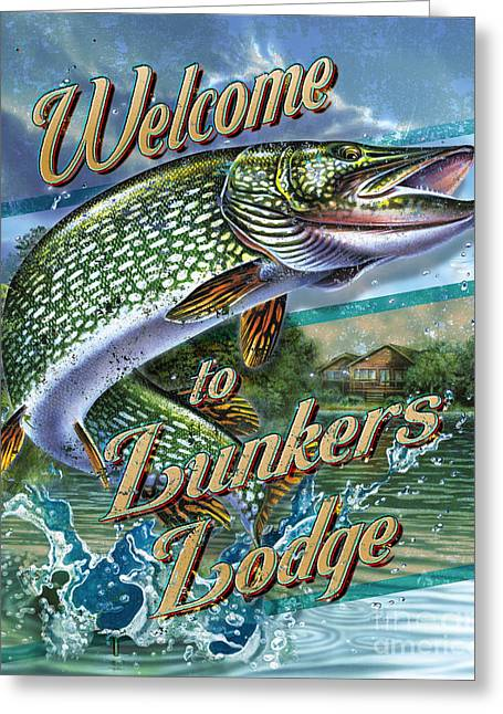 Lunkers Lodge Sign Greeting Card by Jon Q Wright