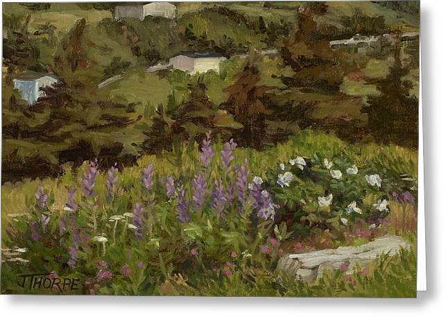 Lupine And Wild Roses Greeting Card