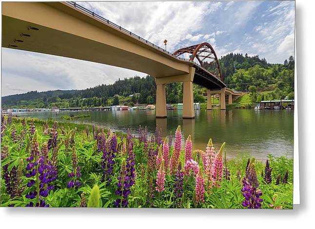Lupine In Bloom By Sauvie Island Bridge Greeting Card by David Gn