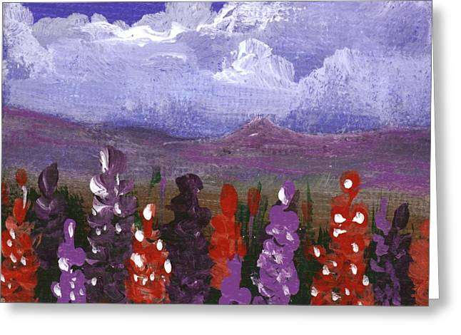 Greeting Card featuring the painting Lupine Land #1 by Anastasiya Malakhova