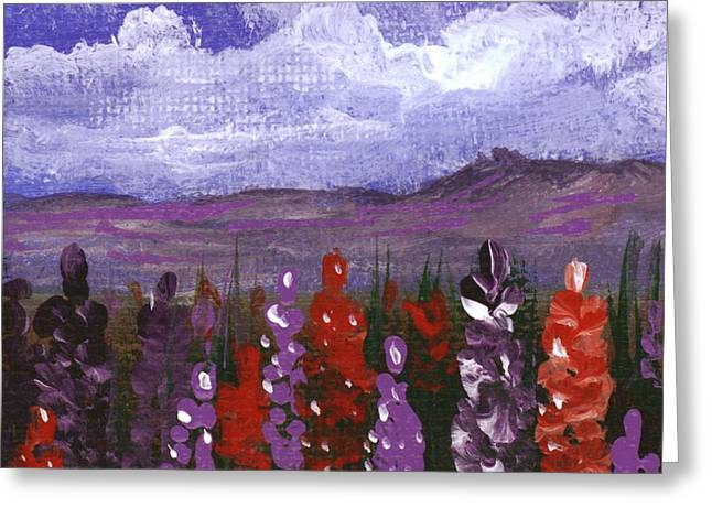 Greeting Card featuring the painting Lupine Land #2 by Anastasiya Malakhova