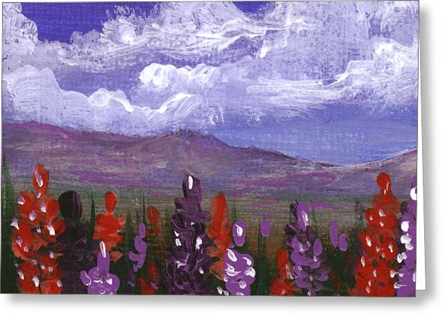 Greeting Card featuring the painting Lupine Land #3 by Anastasiya Malakhova