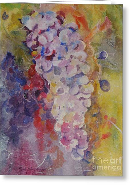 Greeting Card featuring the painting Luscious Grapes by Mary Haley-Rocks
