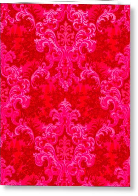 Luscious Neo Baroque Hot Pink Bubblegum Damask Greeting Card