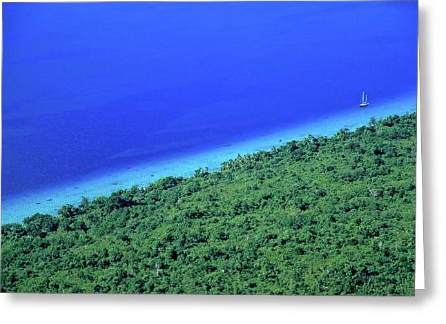 Lush Coast And Blue Waters Of The Sea Surrounding Mosso Island Greeting Card by Sami Sarkis