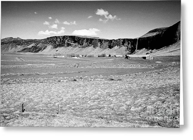 lush fertile icelandic farm and farmland with drained fields  foss Iceland Greeting Card by Joe Fox