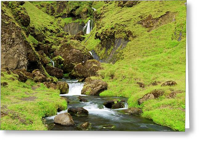 Greeting Card featuring the photograph Lush Icelandic Falls by Brad Scott