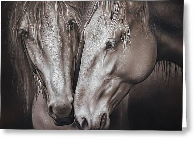 Lusitano Pair Greeting Card by Elena Kolotusha