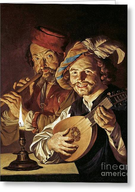Lute Player And Flutist Greeting Card by MotionAge Designs