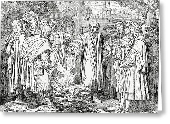 Luther Burning The Papal Bull Greeting Card by English School