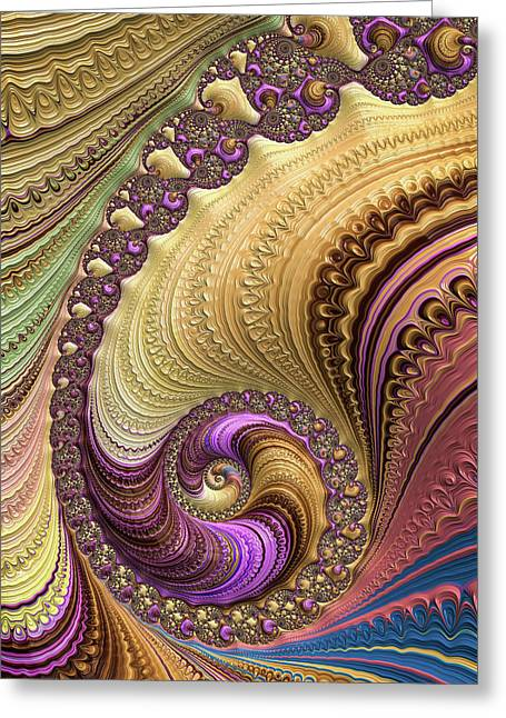 Luxe Colorful Fractal Spiral Greeting Card