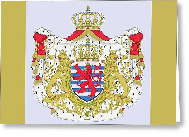 Greeting Card featuring the drawing Luxembourg Coat Of Arms by Movie Poster Prints