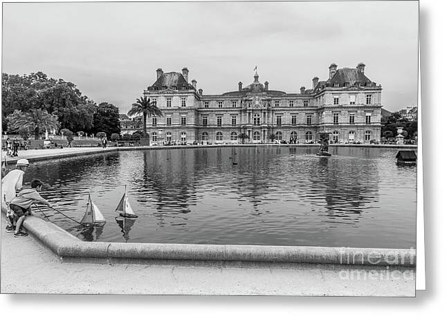 Luxembourg Palace And Pool, Paris, Blk Wht Greeting Card by Liesl Walsh