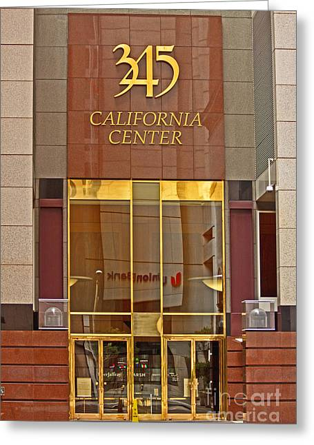 Luxurious Front Entrance In The Financial District In San Francisco Greeting Card by Mark Hendrickson