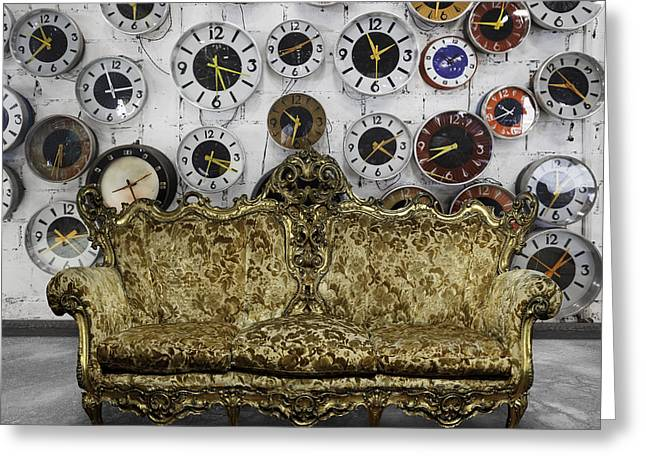 Clock Greeting Cards - Luxury Sofa  In Retro Room Greeting Card by Setsiri Silapasuwanchai