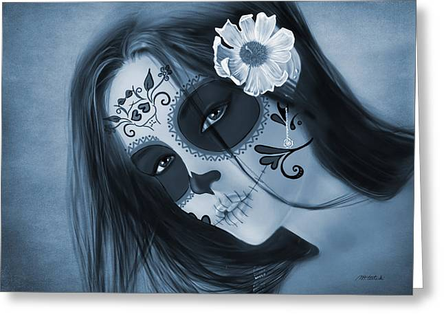Luz Inmortal Day Of The Dead Sugar Skull Monochromatic  Greeting Card by Maggie Terlecki