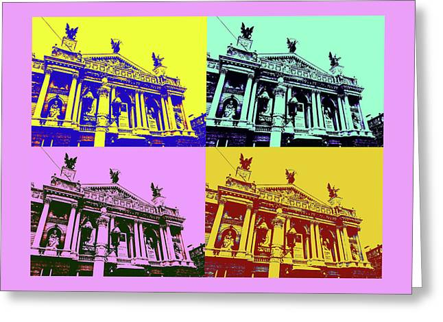 Lviv Opera House Greeting Card by Tetyana Kokhanets
