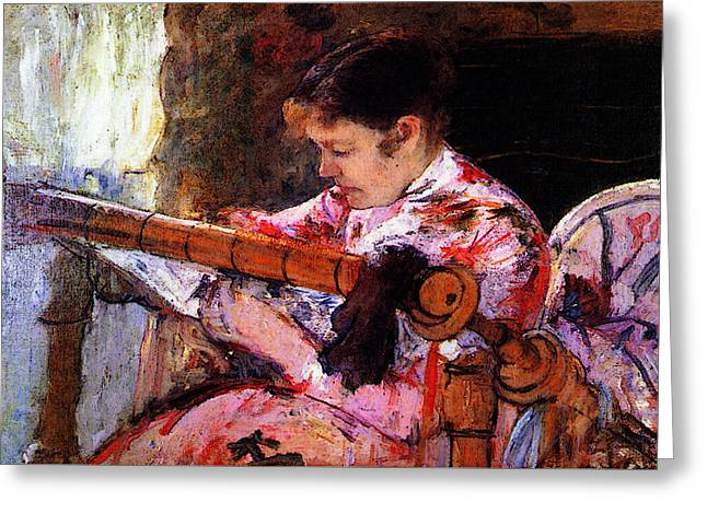 Lydia At The Tapestry Loom Greeting Card by Mary Cassatt