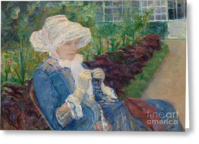 Lydia Crocheting In The Garden At Marly Greeting Card