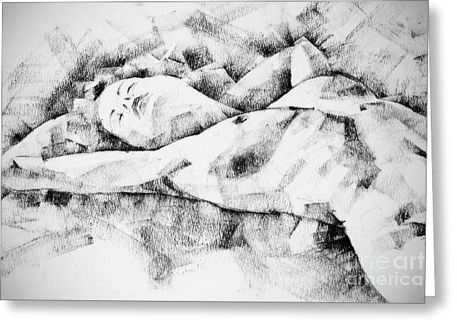 Lying Woman Figure Drawing Greeting Card