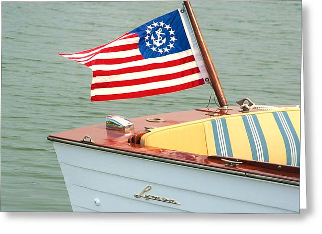 Vintage Mahogany Lyman Runabout Boat With Navy Flag Greeting Card