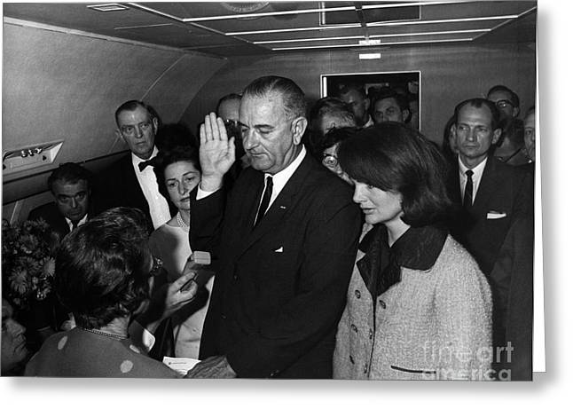 Lyndon B. Johnson Sworn Greeting Card by Science Source