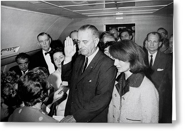Lyndon Johnson Takes Oath  November 22, 1963 Greeting Card by Daniel Hagerman