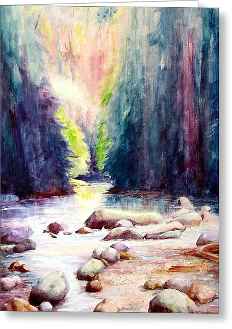 North Vancouver Paintings Greeting Cards - Lynn Creek Canyon Greeting Card by David Sullins