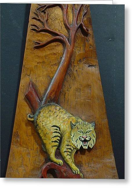 ist Sculptures Greeting Cards - Lynx Greeting Card by Ron Sylvia