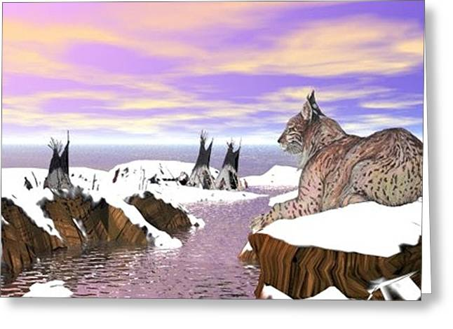 Greeting Card featuring the digital art Lynx Watcher Render by Darren Cannell