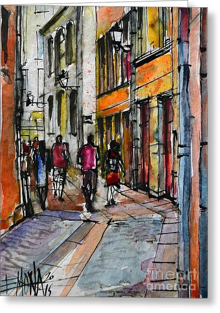 Lyon Cityscape - Street Scene #02 - Rue De Gadagne Greeting Card