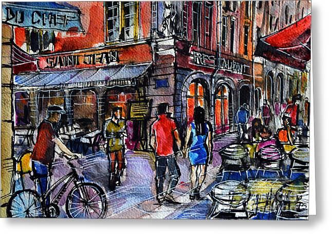 Lyon Cityscape - Street Scene #03 - Rue Saint Jean Greeting Card