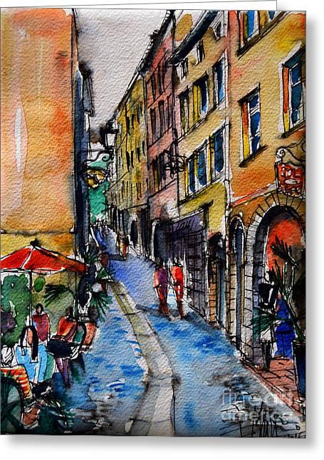 Lyon Cityscape - Street Scene #04 - Rue Du Boeuf Greeting Card by Mona Edulesco