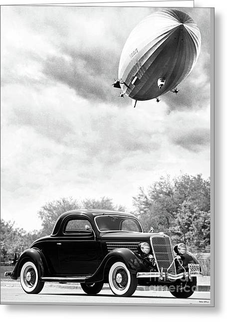 Lz 129 Hindenburg Flys Over A 1935 Ford 3 Window Coupe, Fateful Early Morning Of May 6, 1937 Greeting Card by Thomas Pollart