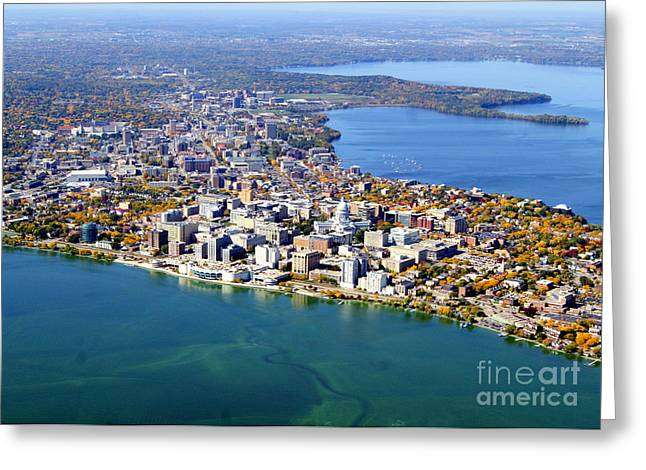 M-044 Madison Wisconsin Fall Monona Terrace Capitol West To Uw Greeting Card by Bill Lang