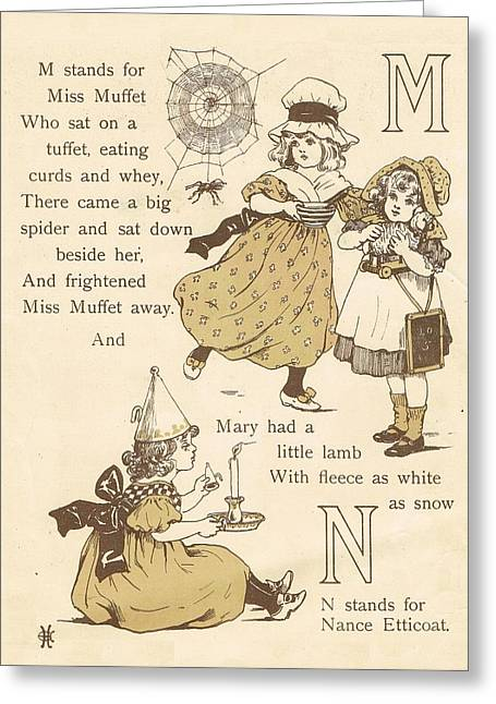 M And N Abc Book Greeting Card by Reynold Jay