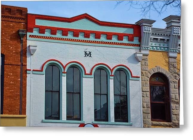 M Building Greeting Card by Jan Amiss Photography