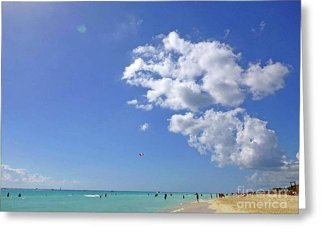 Greeting Card featuring the digital art M Day At The Beach 2 by Francesca Mackenney