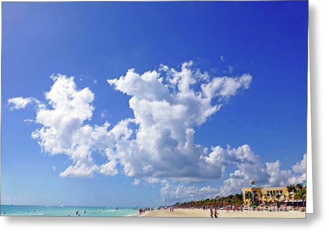 Greeting Card featuring the digital art M Day At The Beach by Francesca Mackenney