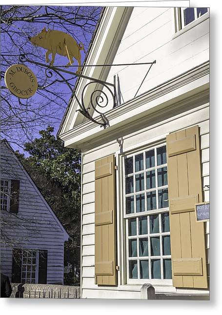 M Dubois Grocer Colonial Williamsburg Virginia Greeting Card by Teresa Mucha