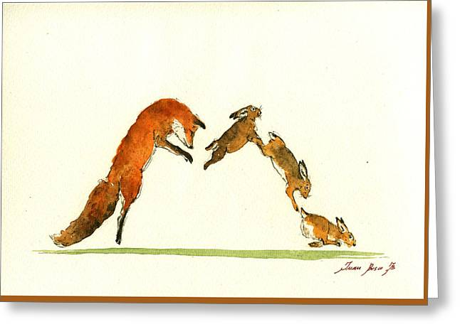 M Letter Woodland Animals Greeting Card by Juan  Bosco