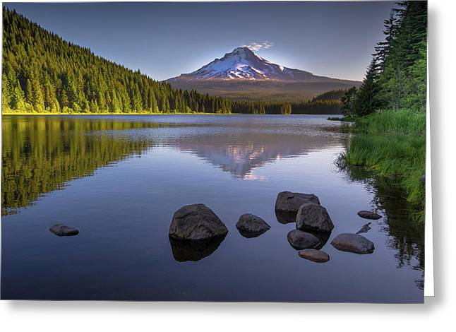 M T Hood Sunrise At Lake Trillium Greeting Card