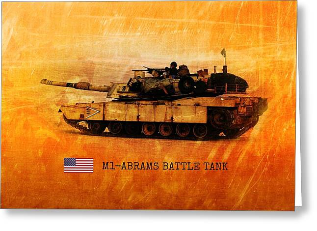 Greeting Card featuring the digital art M1 Abrams Battle Tank by John Wills